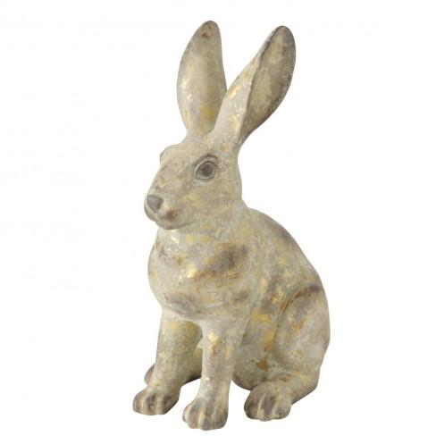 Фигура заек 41см Hopsa златисто/сива