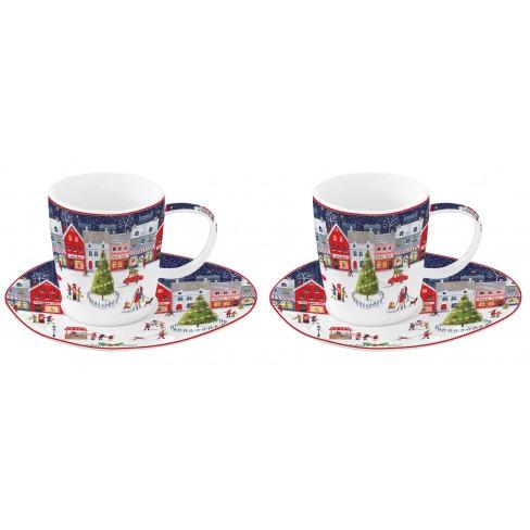 К/т 2 чаши 120мл с чинийки Christmas Village