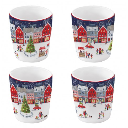 Кт/4 чаши за еспресо 120мл Christmas Village