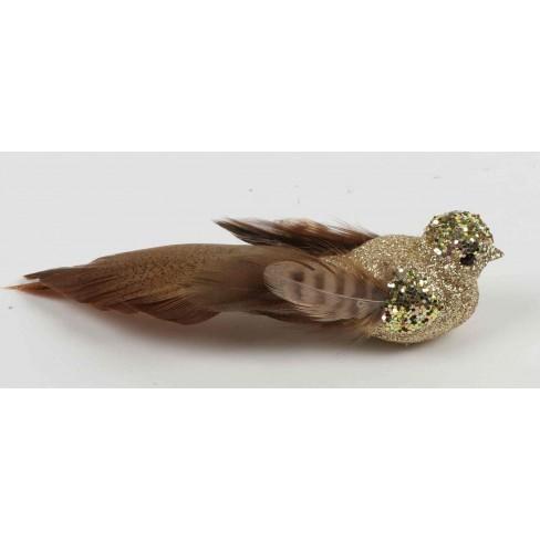 Фигура птиче на клипс 15см златисто