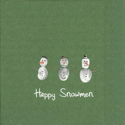 Салфетки 20бр Happy Snowmen зелени