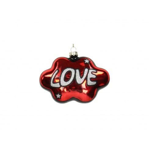 Висяща фигура за елха облак 10.6см Love червена