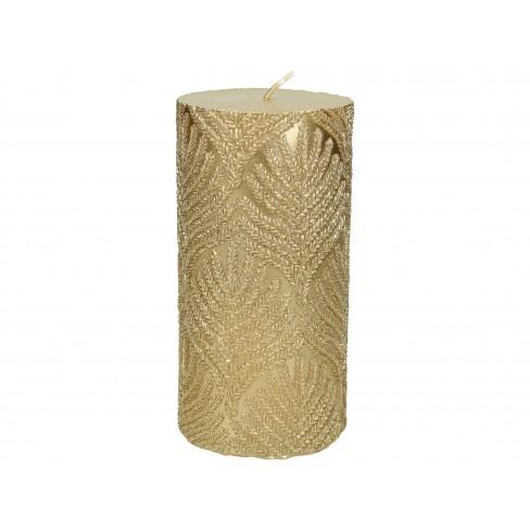 Свещ с клонки 7.3х15см златиста