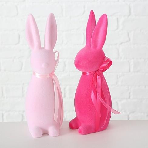 Декоративна фигура заек 30см Bendy розова два цвята