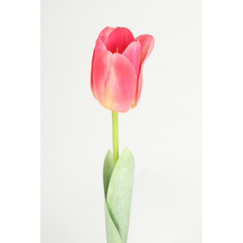 Изкуствено цвете лале 68см тъмно розово
