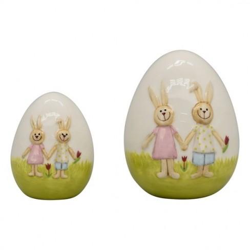 Декоративна фигура яйце 9х9х12см Ivory бяла