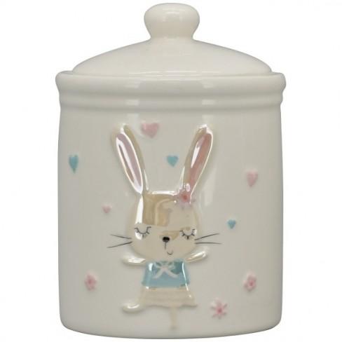 Буркан за сладки със заек 10х15см Pearl бял