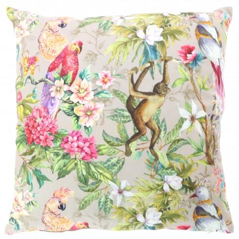 Възглавница с маймуна и папагали 45х45см Ss2020