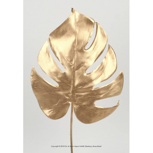Изкуствено листо филодендрон 37см златисто