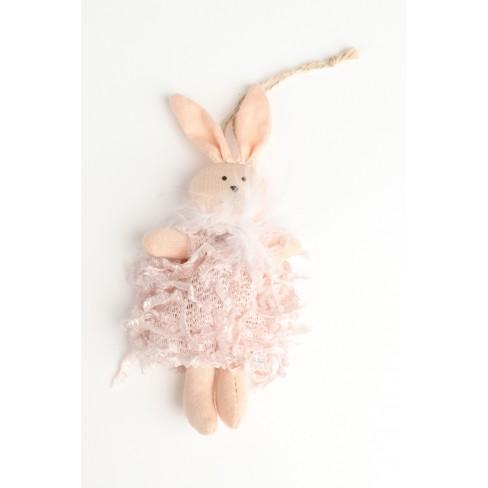 Декоративна фигура заек 17см Diva светло розова