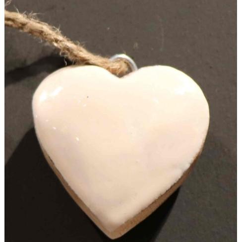 Висяща фигура сърце 7см бяла