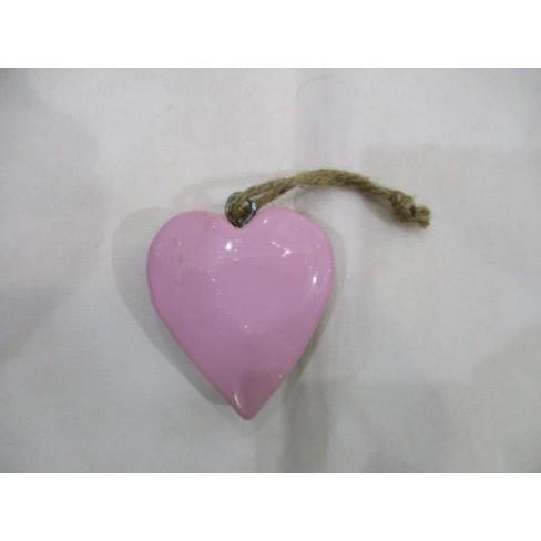 Висяща фигура сърце 5см розова