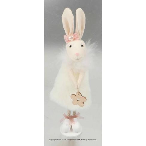 Декоративна фигура заек 21см бяла