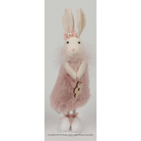 Декоративна фигура заек 21см розова