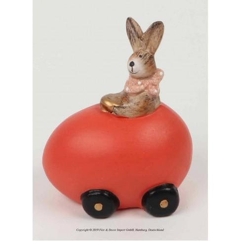 Фигура заек в кола-яйце 11см червена