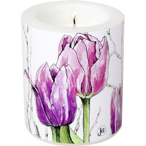Свещ 9х10.5см Colourful Tulips розова