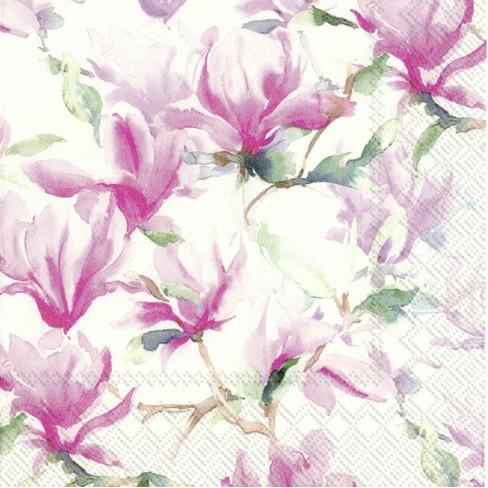 Салфетки 20бр Magnolia Poesie бели
