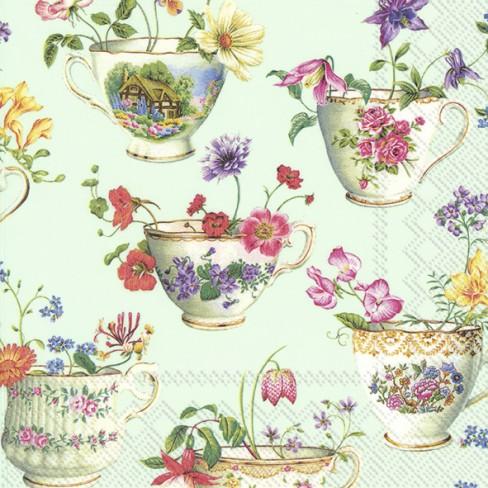 Салфетки 20бр Cup Of Flowers зелени