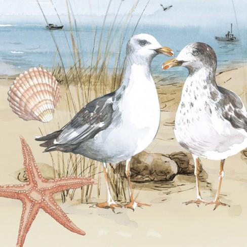 Керамична подложка с корк 12см Seagulls At The Beac