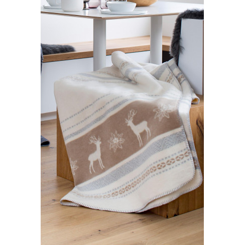 Одеяло Savona Stag & Edelwiess бяло/беж 150x200см
