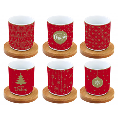 Кт/6 чаши за еспресо с бамбукови подложки Christmas