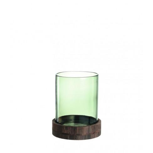 Свещник/ваза с подложка 25см Lucente зелен