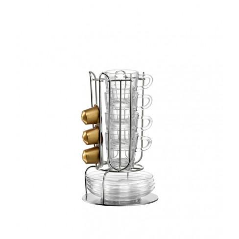 Кт/4 чаши за еспресо с чинийки и стойка