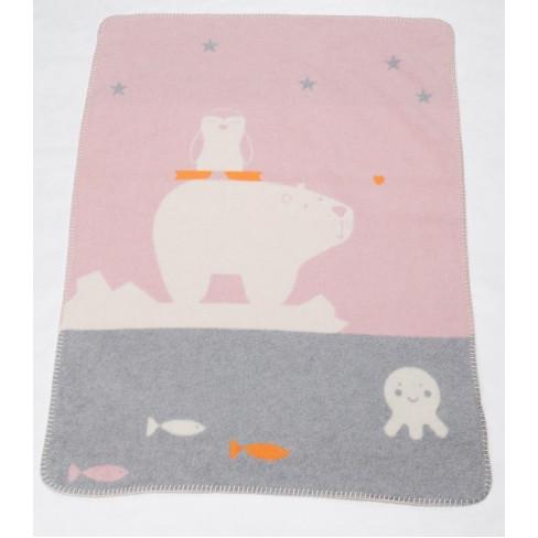 Бебешко одеяло Mila животни розово 75x100см
