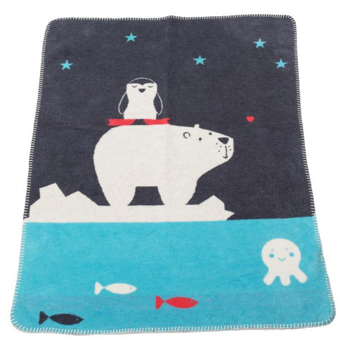 Бебешко одеяло Mila животни синьо 75x100см