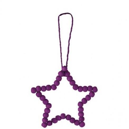 Звезда 12см висяща лилави топчета