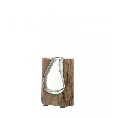 Ваза скулптура от стъкло и дърво 20см Casolare