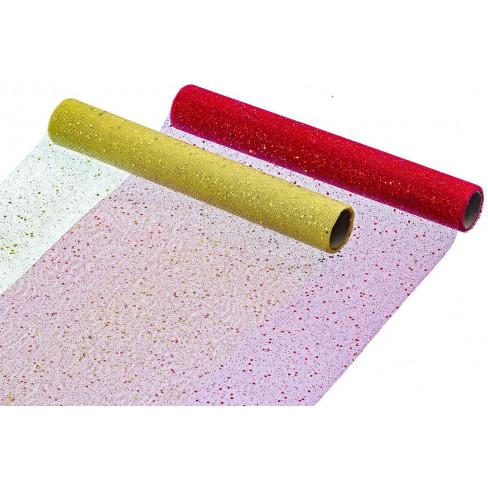Текстилна ролка за декорация 200см златно/червено