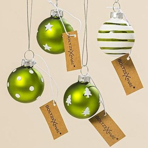 Стъклена топка за елха 4см Bullerbu зелена 4 декора