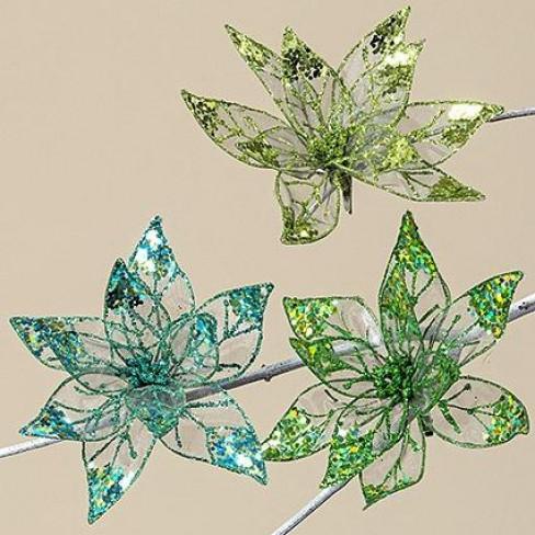 Изкуствено цвете на клипс 20см Teona зелено три вида