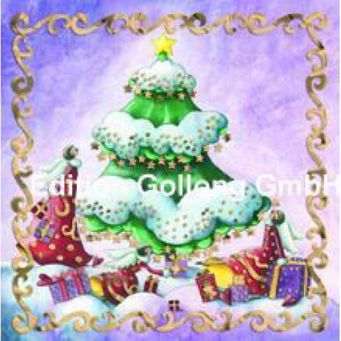 Картичка квадратна 7.6х7.6 елха и ангели