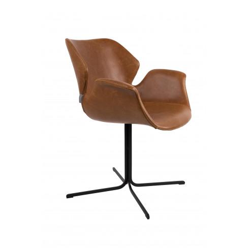 Стол изкуствена кожа Nikki 80см кафяв