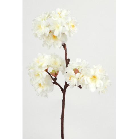 Изкуствена клонка с цветчета 42см бяла