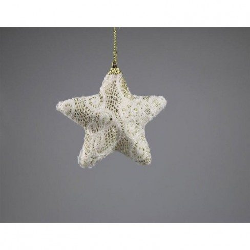 Висяща фигура звезда 12см дантела екрю