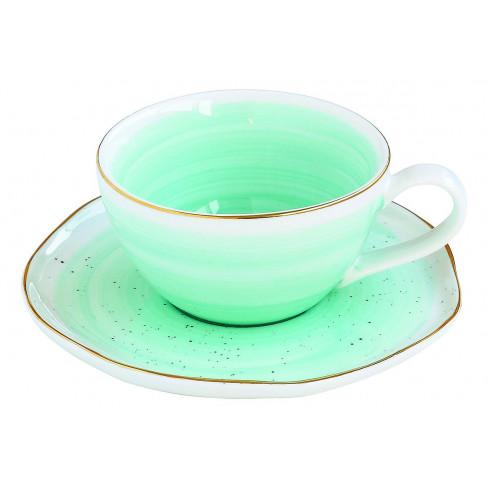 Чаша за чай с чинийка Artesanal 250 мл зелени