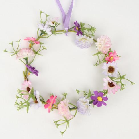 Венче от цветя 20см розово/лила