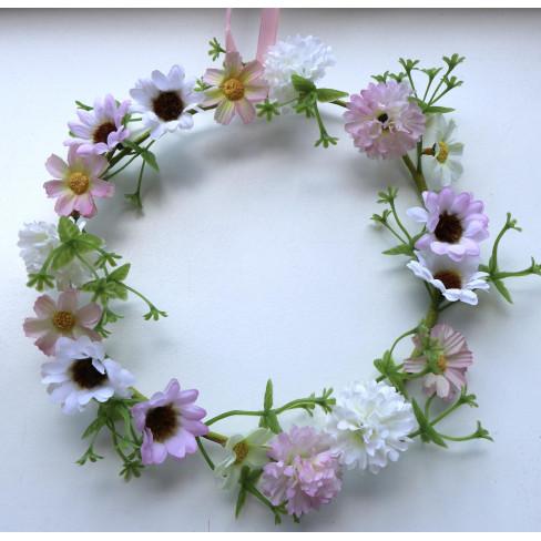 Венче от цветя 20см бяло/розово