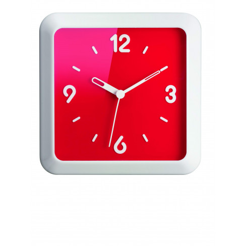 Квадр.часовник 36см червен Home