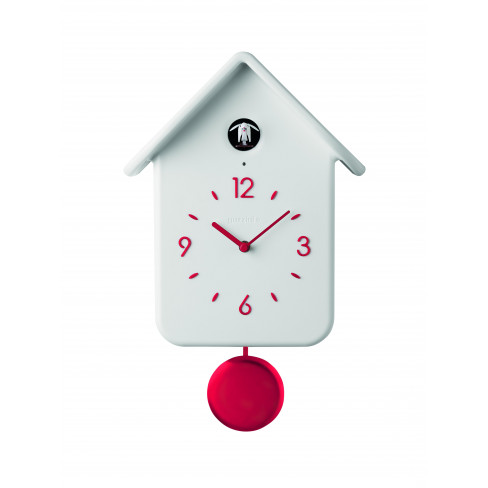 Стенен часовник с махало Qq Cuckoo бял