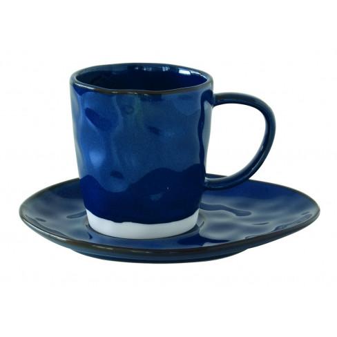 Чаша 250мл с чинийка Interiors сини