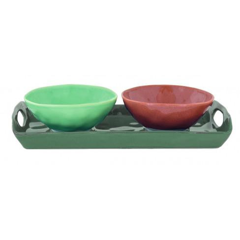 Кт/2 купички 12см със зелен поднос Interiors