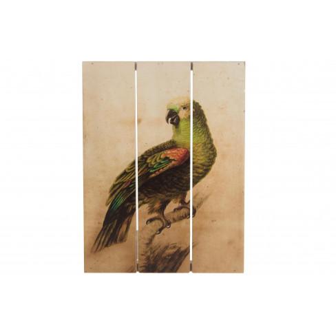Картина на дървена основа Parrot 25 см