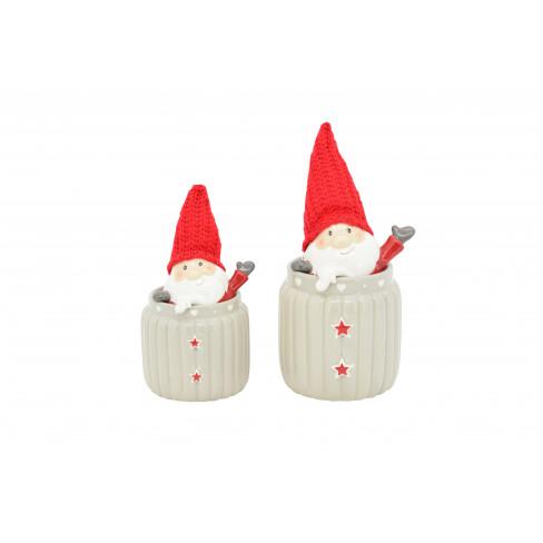 Буркан Дядо Коледа 12х13х27см Gris голям