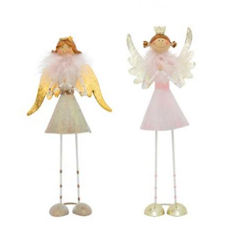 Метална фигура ангел 6х5.5х16.5см Lilian два вида