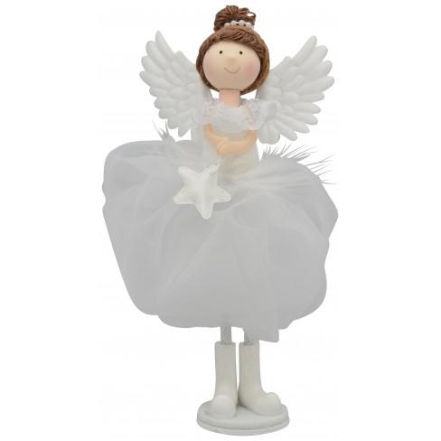 Декоративна фигура ангел 19х4см Lanky бяла