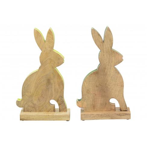 Дървена фигура заек 32.5см два цвята